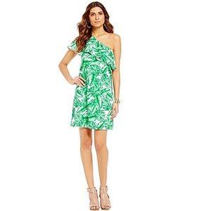 NWT Gianni Bini one shoulder palm print dress Sz S